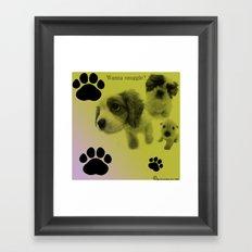 Puppy Snuggle Pillow Framed Art Print