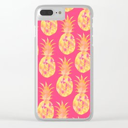 bright summery fruity pineapples pattern print design Clear iPhone Case