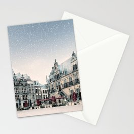 Winter snow view of the central historic square with bars and restaurants in the ancient city center of Nijmegen, The Netherlands Stationery Cards