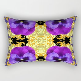 PURPLE PANSIES ON BLACK & GOLD BROCADE GARDEN Rectangular Pillow
