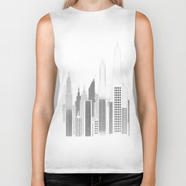 Modern City Buildings And Skyscrapers Sketch, New York Skyline, Wall Art Poster Decor, New York City Biker Tank