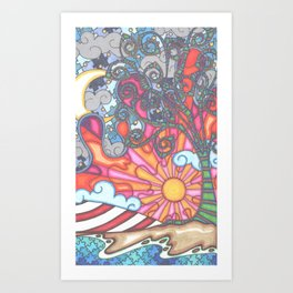 puzzled night Art Print