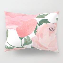 Peony Watercolor Collage Pillow Sham