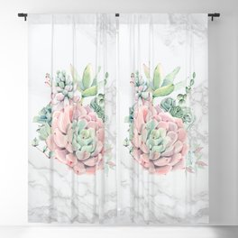 Pink Succulents on Marble Watercolor by Nature Magick Blackout Curtain