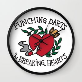 Punching Darts & Breaking Hearts Wall Clock