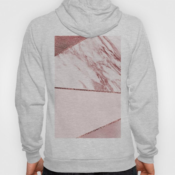 Spliced mixed pinks rose gold marble Hoody