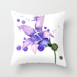 violet flower of bluebell Throw Pillow