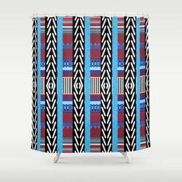 Black Blue Etnic Shower Curtain