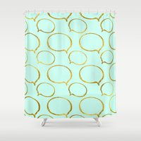 gold foil Shower Curtains featuring Mint Gold Foil 01 by Aloke Design