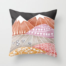 Tatry mountains, sheep watercolor landscape nature Throw Pillow