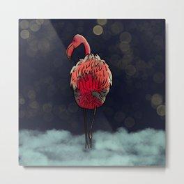 Flamingo In The Dark Metal Print