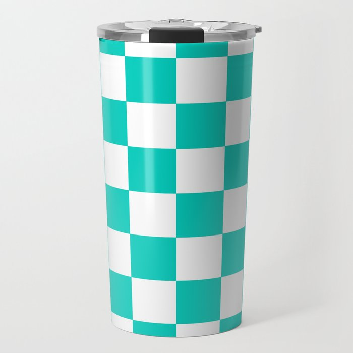 Aqua Blue Checkers Pattern Travel Mug