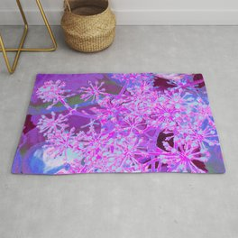 Cool Abstract Retro Nature in Hot Pink and Purple Rug