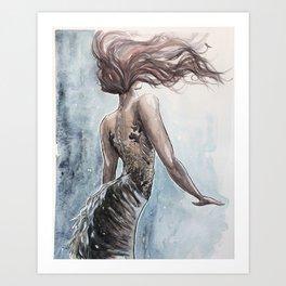 Mermaid Watercolor Art Print