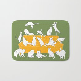 Cute white cats on the couch   Green Bath Mat
