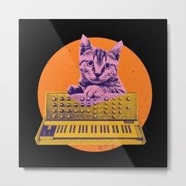 Synthesizer Cat Metal Print