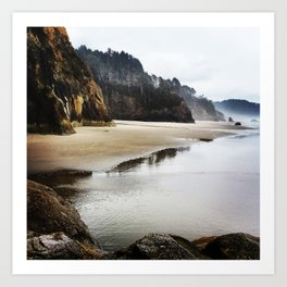 Hug Point Landscape On Oregon Coast Art Print