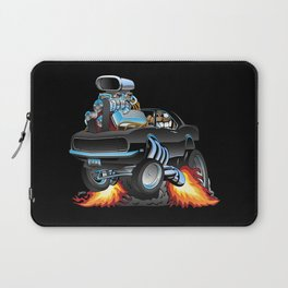 Classic Sixties American Muscle Car Popping a Wheelie Cartoon Illustration Laptop Sleeve