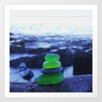 Green Beach Glass Cairn Art Print