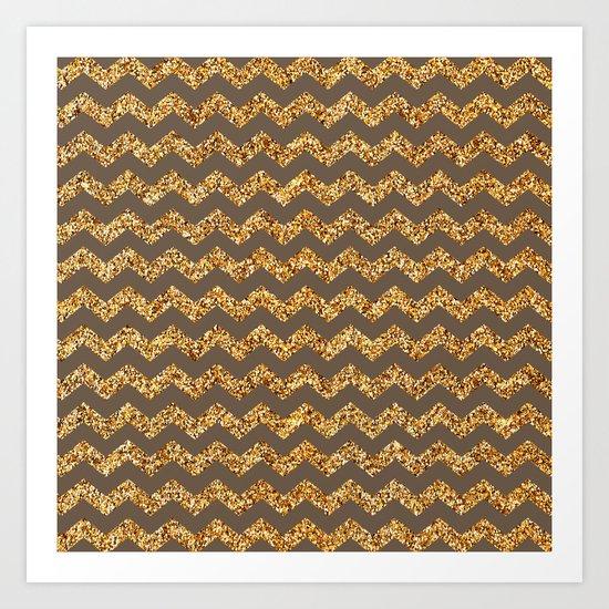 Brown Gold Glitter Chevron Art Print