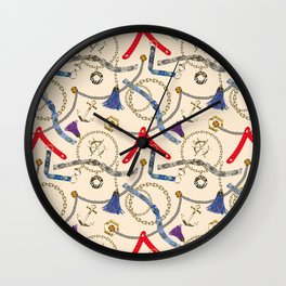 Trendy abstract with straps, tassels, chains Wall Clock