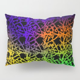 Fluttering pattern of neon squiggles and blue ropes on a black background. Pillow Sham