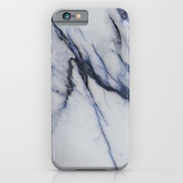White Marble with Black and Blue Veins iPhone Case