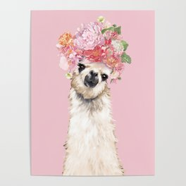 Llama with Flower Crown in Pink Poster