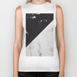 Black Marble Meets White Glitter Marble #1 #decor #art #society6 Biker Tank