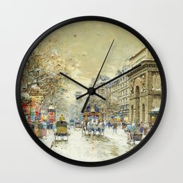 Porte St. Martin, Paris by Antoine Blanchard Wall Clock