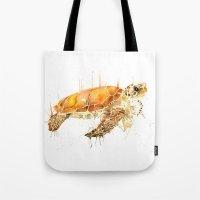 sea turtle Tote Bags featuring Sea Turtle  by Meg Ashford