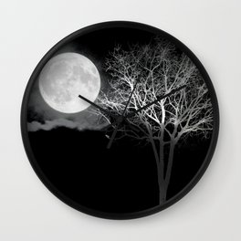 Full Moon Night Cloud Tree Wall Clock