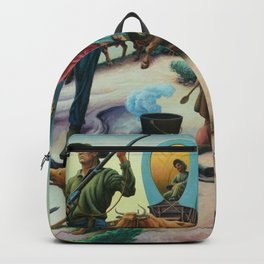 Missouri Settlers meeting Native American's on the Great Plains landscape painting by Thomas Hart Benton Backpack