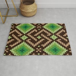 Green Brown Knit Argyle Pattern Rug