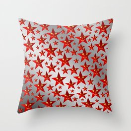 red stars and gold smilie in shiny silver Throw Pillow