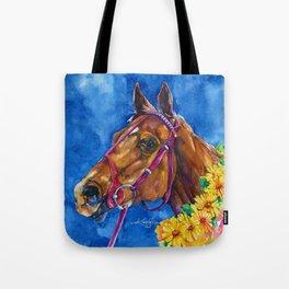 Secretariat Painting, Large Race Horse Watercolor Art Tote Bag