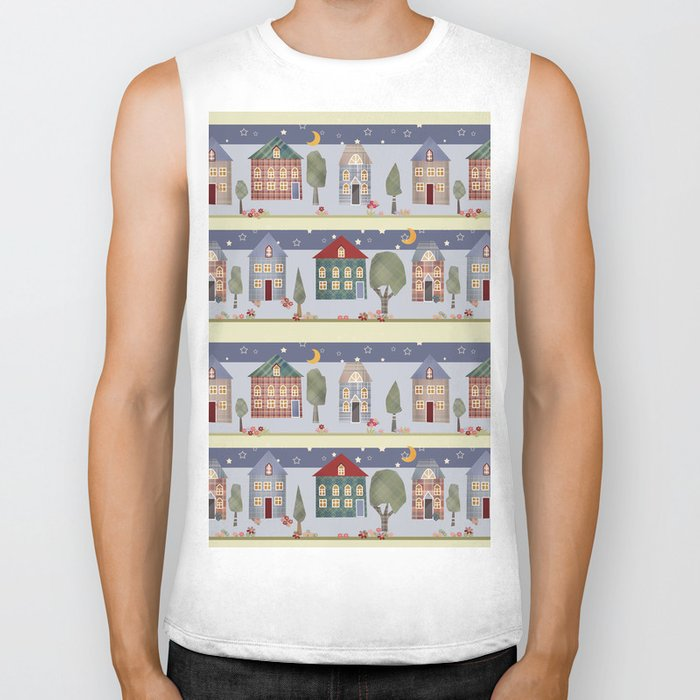 Kids patchwork seamless pattern with houses and trees Biker Tank