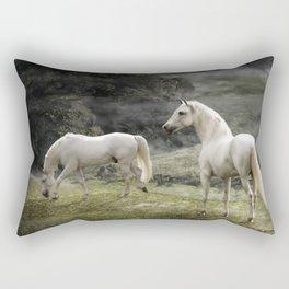 White Stallions of the Gods Rectangular Pillow