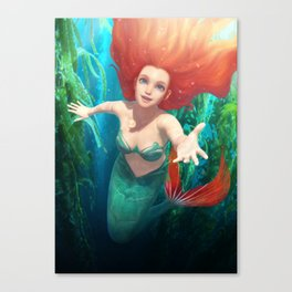 Ariel ( The Little Mermaid ) Digital Painting Canvas Print