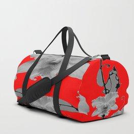 MODERN ART RED ART NOUVEAU WHITE ORCHIDS ART Duffle Bag
