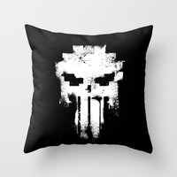 punisher Throw Pillows featuring Space Punisher by RicoMambo