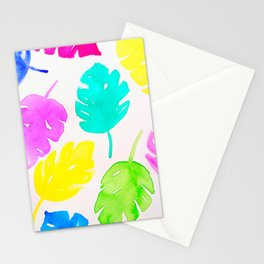 Colorful Monstera Watercolor Leaves Stationery Cards