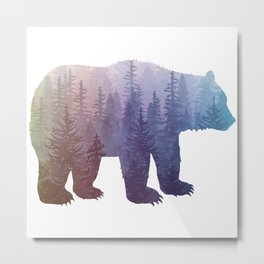 Misty Forest Bear - colorful rainbow Metal Print