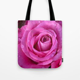 Pink rose close up with raindrops Tote Bag