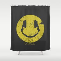 edm Shower Curtains featuring Music Smile by Sitchko Igor
