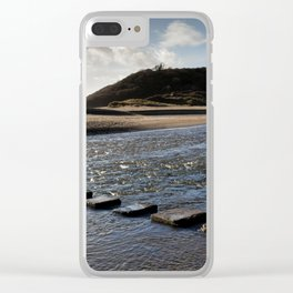 Three Cliffs Bay stepping stones Clear iPhone Case