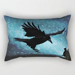Descent of the Midnight Rook Rectangular Pillow