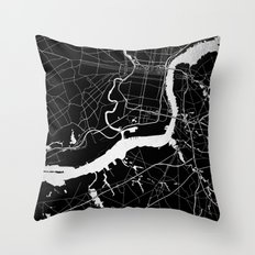 Philadelphia - Black and Silver Throw Pillow