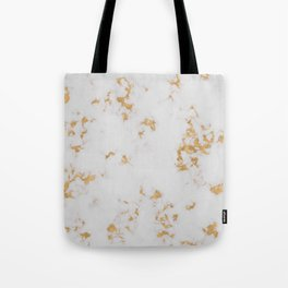 White Marble with Gold Foil Tote Bag