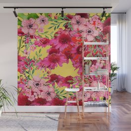 FUCHSIA-PINK FLOWERS YELLOW ART PATTERNS Wall Mural